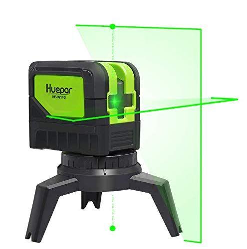 Cross Line Laser Level With 2 Plumb Dots Huepar 9211g Green Beam Self Leveling 180 Degree Vertical Line And Horizontal Line Interior Walls Laser Levels Beams