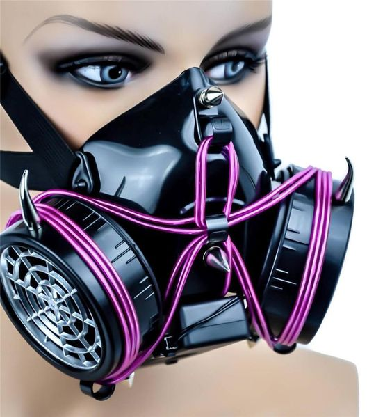 Industrial Cyber Goth Purple El Wire Glow Light Up Gas Mask Punk Dual Respirator #DysfunctionalDoll