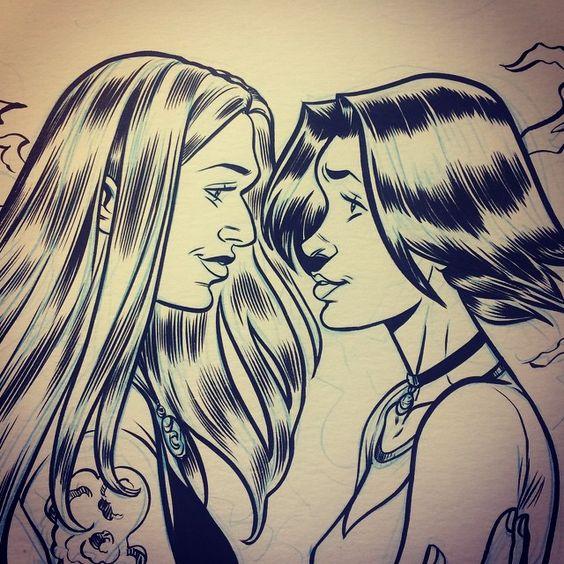 Sketch by Megan Levens - #Willara #WillowRosenberg #TaraMaclay