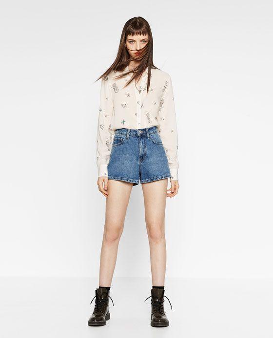 画像 1 の マーメイドプリントシャツ ザラから