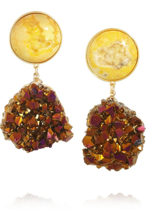 DARA ETTINGER - Celeste gold-plated, agate and amethyst drop earrings   THE OUTNET