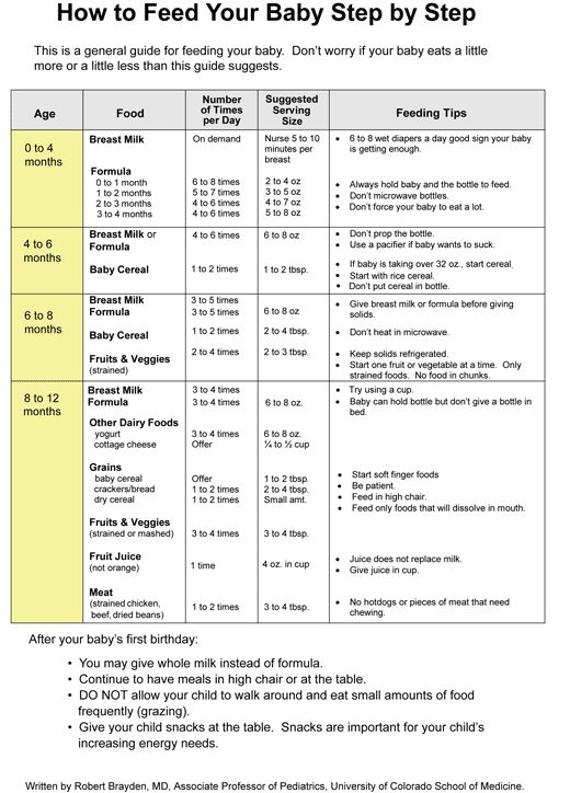Pediatric Advisor 2011.3: How to Feed Your Baby Step by Step (chart)