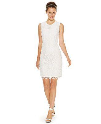 Calvin Klein Petite Sleeveless Lace Sheath Dress - Shop all Wedding Dresses - Women - Macy's