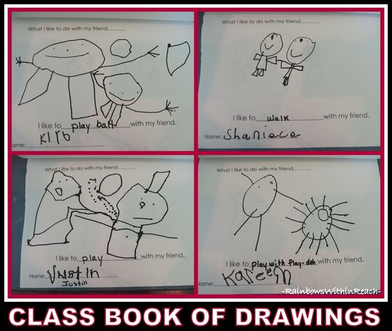 Class Book of Preschool Drawings on Friendship via RainbowsWithinReach (What I Like to Do with My Friend)
