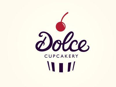 Dolce Cupcakery Logo, simple, cursive, print, fruit, clean