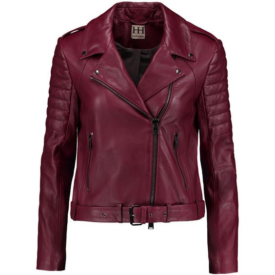 Haute Hippie Leather biker jacket (2.525 RON) ❤ liked on Polyvore featuring outerwear, jackets, burgundy, leather biker jacket, slim leather jacket, motorcycle jacket, moto jacket and quilted leather jacket