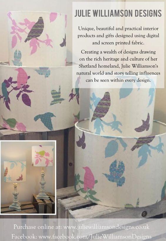 Shetland starling lampshade collection   #lampshades #textiles #textiledesigner #print #shetland #interior #home