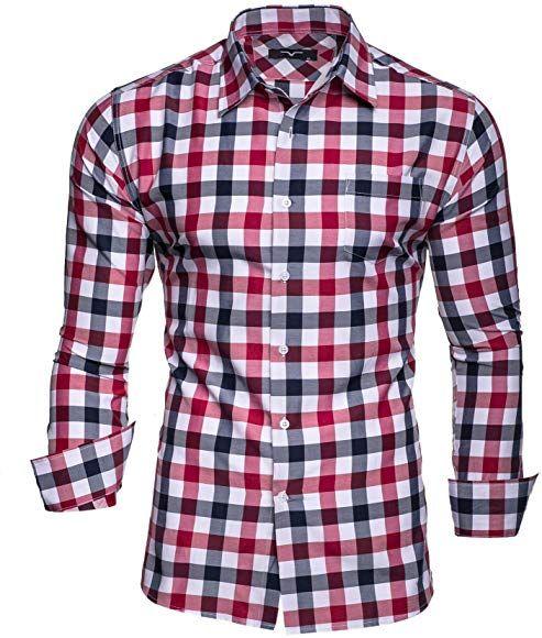 Kayhan Herren Hemd Doppelfarbig Rot Xl Hemd Herren Hemden Slim Fit Herrenhemd
