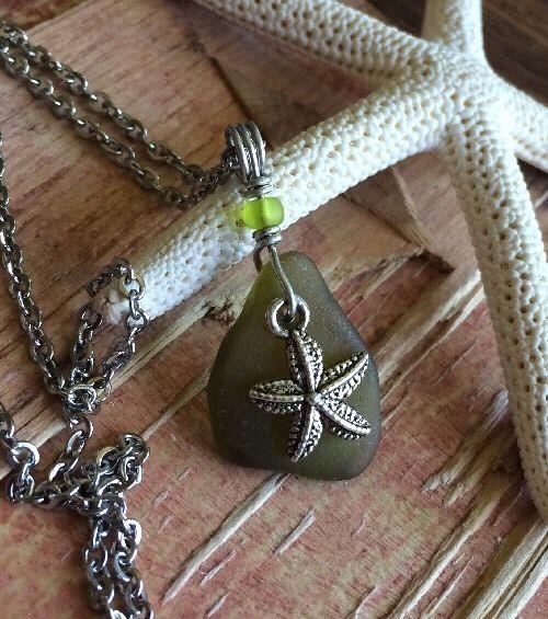 Surf Beach Glass Starfish Necklace