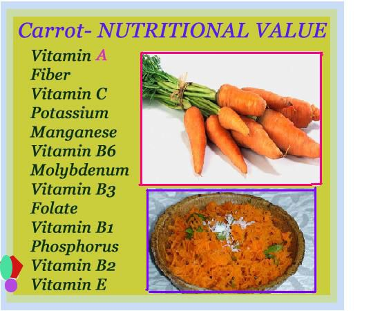 Health benefits of carrots not only stops with improving eye vision, they actually contains many nutritional value in it. They contain the most essential vitamins, nutrition's for our body in maintaining the body healthily. (I love my carrots!!!)