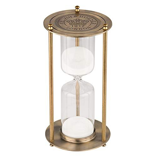 KSMA 15 Minutes Hourglass Sand Timer,Brass-Tone Metal Hour Glass with White Sand