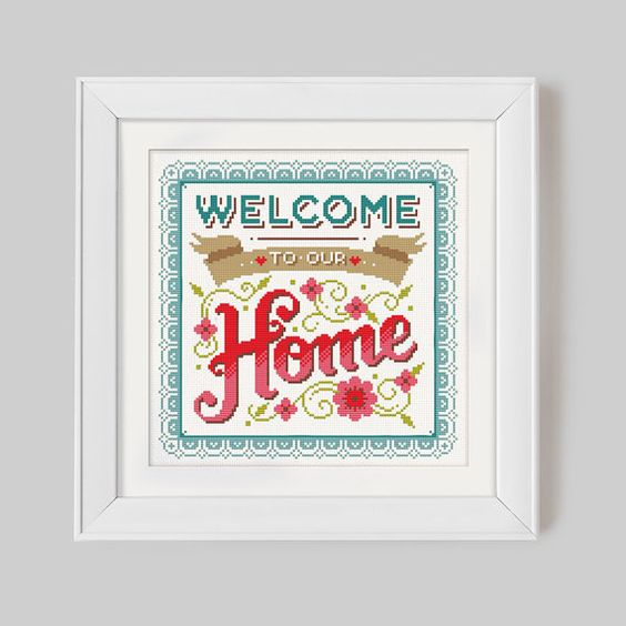 Welcome to our Home (Brights)- Cross Stitch Pattern (Digital Format - PDF)