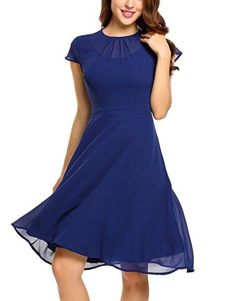 Zeagoo Damen Elegant Chiffonkleid Sommerkleid Partykleid Hochzeit Festliches Kleid A Linie Kurzarm Knielang Dunkelblau A S Partykleid Chiffonkleid Sommerkleid