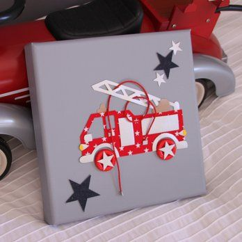 Tableau personnalis camion d co chambre enfant pinterest - Deco anniversaire pompier ...