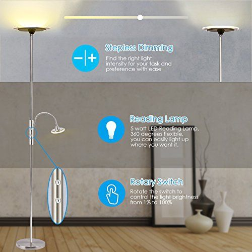 Floor Lamps Sunllipe Floor Lamps With Reading Light Modern Led