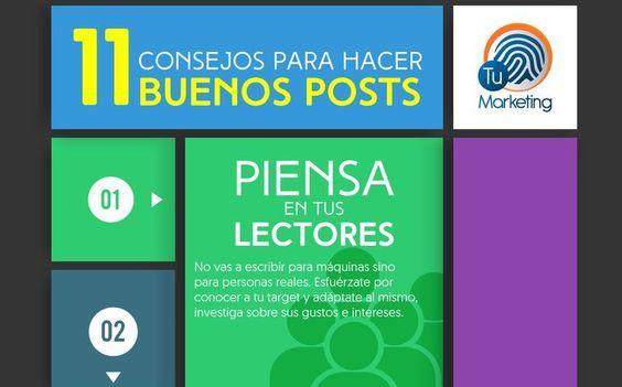 Liked on Pinterest: Esta infografía nos ofrece 11 útiles consejos todos ellos en español para aprender a hacer buenos posts y mejorar la calidad de nuestros contenidos. visit my blog http://goo.gl/WfaZJb