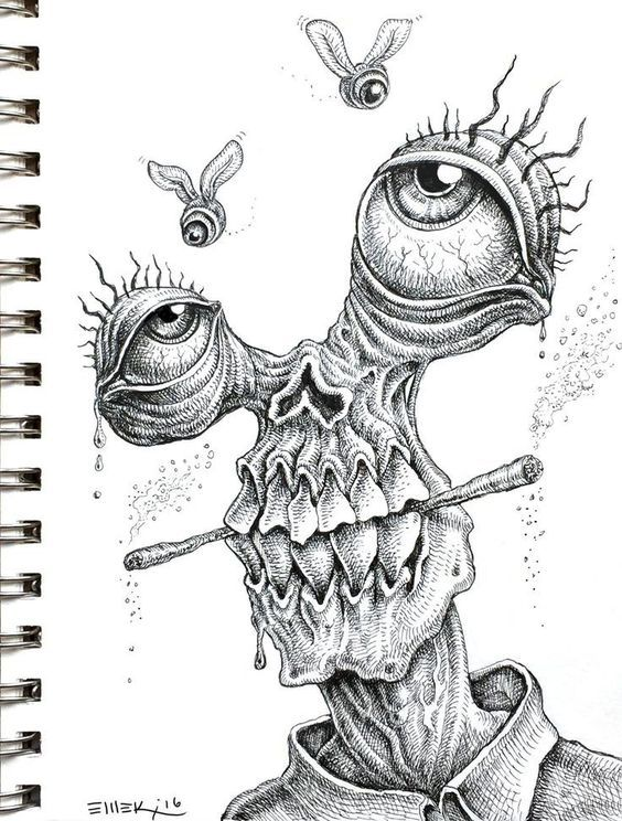 Drawing Ideas Psychedelic Drawings Creepy Drawings Art Sketches