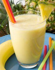 A great recipe for a hot day. And it's super easy, the kids can help make it too. Plus, its healthy enough to enjoy for breakfast.Banana Orange Pineapple Smoothie1 banana1 1/2 c. pineapple chunks, drained1/2 c. orange juice1 /2 c. milk2 Tbs. honey4 to 5 ice cubesPlace all ingredients into the blender. Blend until smooth. Serve. Delish!