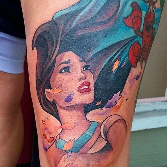"""Este retrato mágico de Pocahontas:   21 Tatuajes de """"Pocahontas"""" que son increíblemente bellos"""
