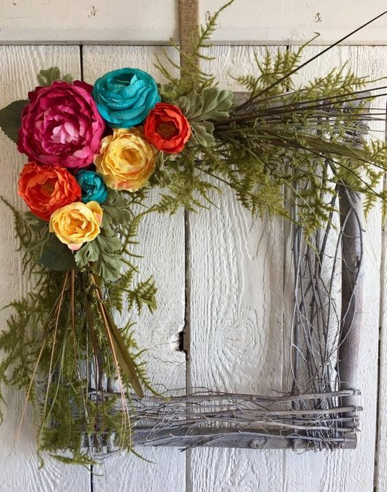 Square Wreath, Large Wreath, Spring Wreath, Summer Wreath, Front Door Wreath, Grapevine Wreath, Twig