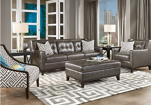 Shop for a Reina Gray 4 Pc Leather Living Room at Rooms To Go - gray leather living room sets