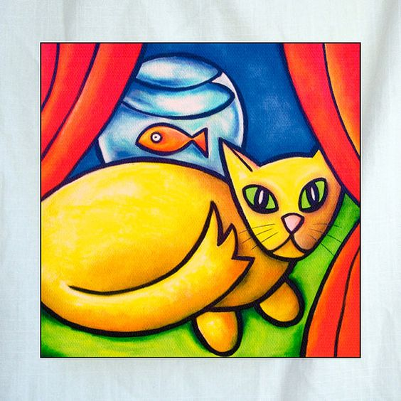 Cat and Fish Small Canvas Wall Art 6x6x1.5 in | Cats, Canvas wall ...