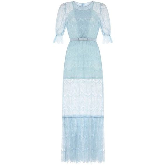 Ukulele - Cassandra Dress (£180) ❤ liked on Polyvore featuring dresses, blue puff sleeve dress, lacy slip, zip dress, lace slip and powder blue dress