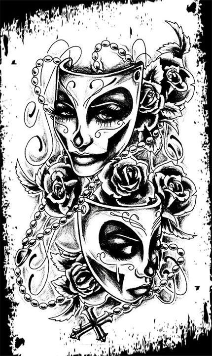 Art and comedy on pinterest for Comedy and tragedy tattoo