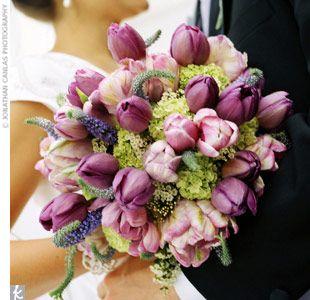 Bridal bouquet: Spring Bouquet, Flowerarrangementideas 13Faqs, Bridal Bouquets, Purple Tulip, Bouquet Tulips, Flowers Idea, Favorite Flower