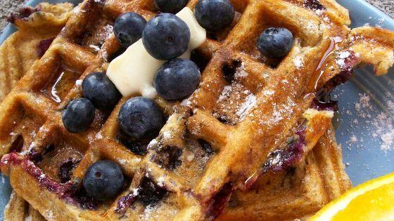 Blueberry Buttermilk Waffles Recipe Breakfast Genius Kitchen Buttermilk Waffles Buttermilk Waffles Recipe Waffles