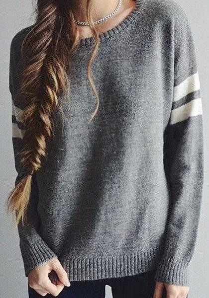 Classic grey knit sweater | Lookbook Store