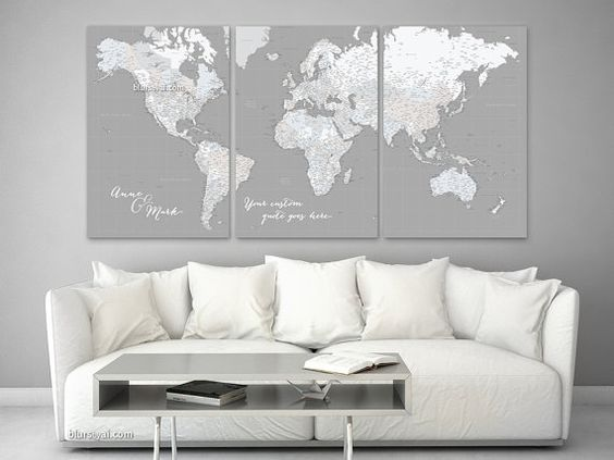 Large push pin world map, custom quote highly detailed world map ...