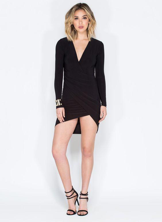 Surplice Faux Wrap Dress BLACK MOCHA - GoJane.com