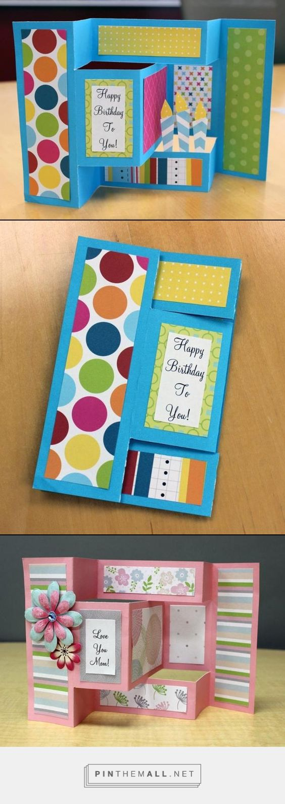 Check out these fun pop-up cards!  The birthday one uses the new Look on the Bright Side paper pack with the base from the Shades of Blue paper pack; the Mother's Day card uses the new Pretty in Pastel paper pack with the base from the Shades of Red paper pack.  Think of all the possibilities!  Simply change the color palette...Father's Day, Friends, Graduation, Christmas, Easter, etc.  Check out the paper packs at www.creativememories.com/user/lstern  created via http://pinthemall.net