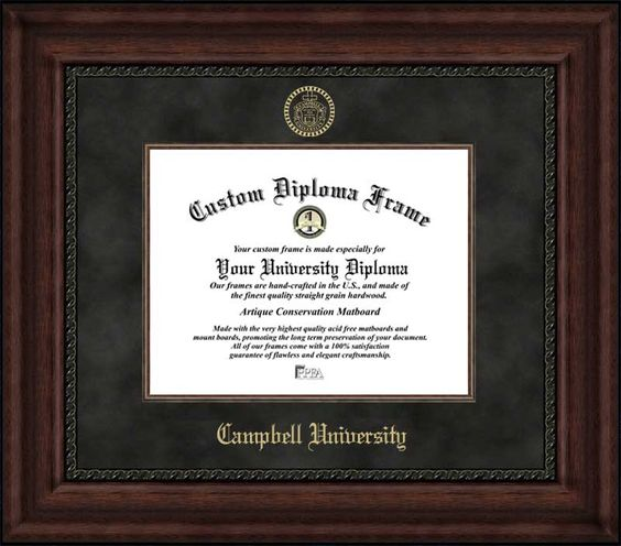 Campbell University Diploma Frame Embossed Seal Suede Mat Mahogany Diploma Frame Campus Images University Diploma