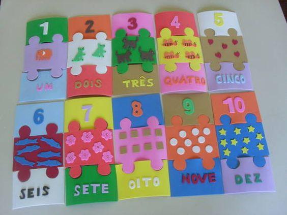 Ensinar conceitos simples, como quantidade, fica divertido e interessante com esse quebra cabeça em E.V.A.  Área de Conhecimento: Matemática Faixa Etária: a partir dos 5 anos. Habilidades: Raciocínio e atenção. Objetivo: A criança deve tentar montar o quebra-cabeça, reconhecer o numeral, a palavra referente ao numeral e à quantidade de figuras. Número de 1 a 10.  O jogo contém 30 peças encaixáveis em E.V.A. R$ 12,00