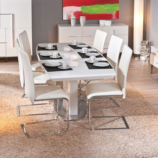 Cortina Modern Extendable Dining Table In White High Gloss With