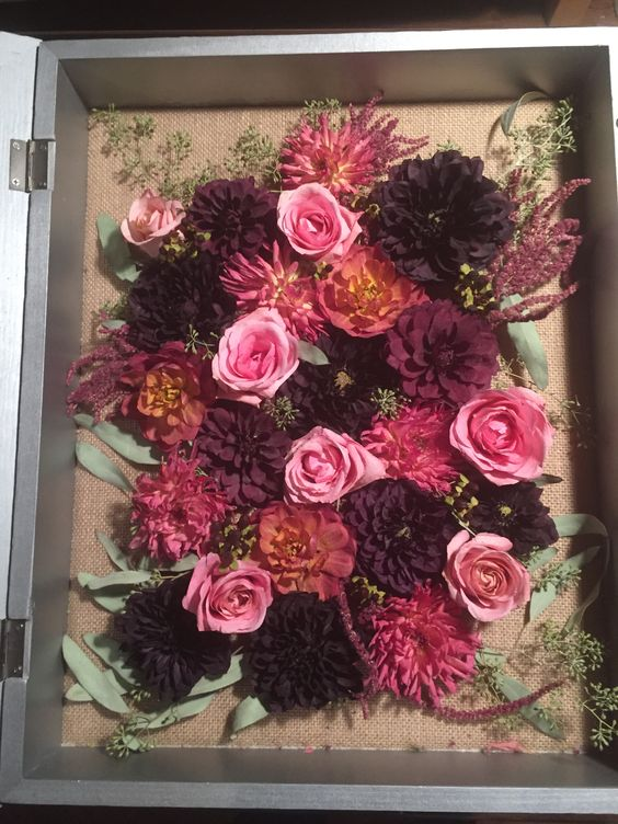 My Diy Dried Wedding Bouquet Shadow Box Weddingbee