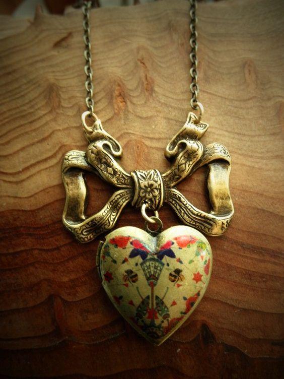 Heart Locket necklace #Etsy
