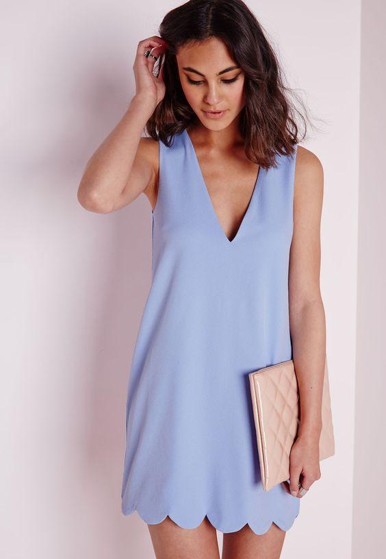 Missguided - Crepe Plunge Scallop Hem Shift Dress Powder Blue