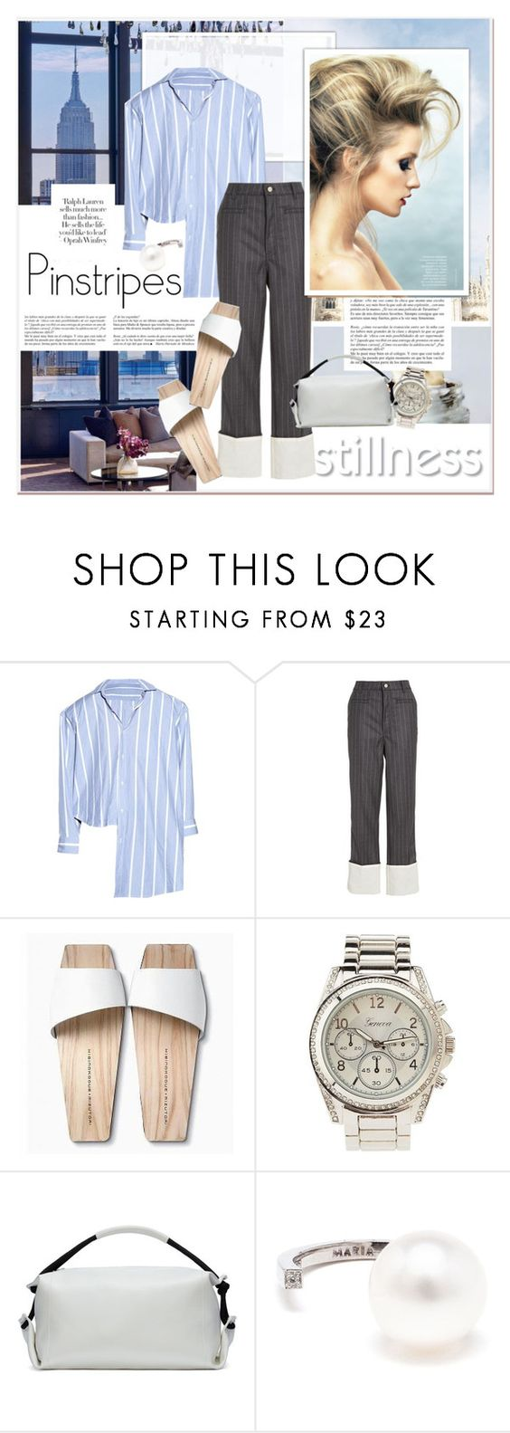 """""""Stilness Pinstripes"""" by stylemeup-649 ❤ liked on Polyvore featuring Whiteley, Loewe, Mizutori, Charlotte Russe, MM6 Maison Margiela, Maria Stern, WOOD, sandals, pinstripes and duffle"""