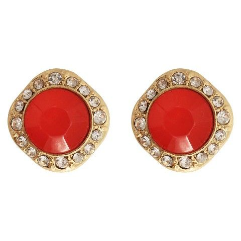 Women's Fashion Earrings with Stones-- Gold/Coral