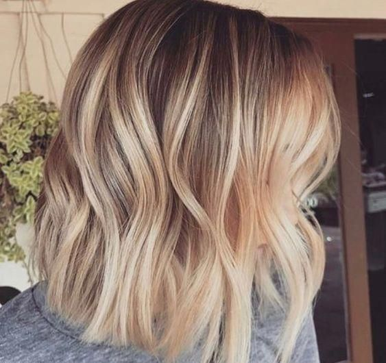 Piecy Warm Ash Blonde Lob Ombrehairstraight Balayage Straight Hair Short Hair Balayage Dark Hair With Highlights