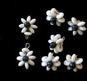 "Vintage Glass Bead ""Flower"" Buttons ~ Navy Blue & White ~"