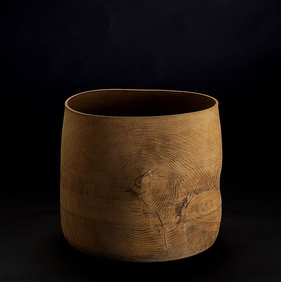 Ernst Gamperl ~ B10 Lime-Washed Turned Oak Vase with Dovetailed Fissures