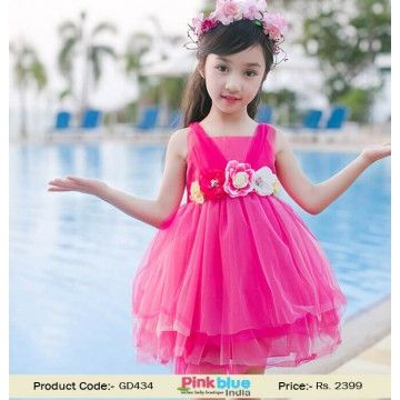Gorgeous Pink Flower Party Dress for Baby Girls - Kids Summer ...