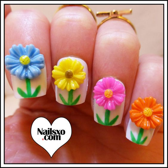 Simple Flower Spring Nail Art « Nailsxo Nailsxo