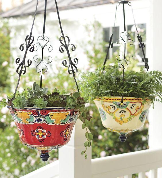 hanging talavera ceramic planter in the garden pinterest ceramics planters and ceramic. Black Bedroom Furniture Sets. Home Design Ideas
