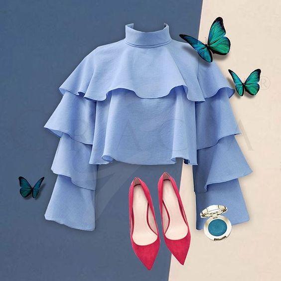"IN STOCK 💙💚💛: entire ruffle crop top ""T20480"" in L/Blue and Teal. #newyorkfashion#gracia#graciafashion#graciany#newyork#womenwear#women#girl#style#nyfw #gorgeous#awesome #top #blouse #ruffle #stylish#dailylook#f4f #l4l#like4like#instafab#fashionstagram"