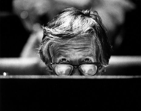 """""""John Cage would have been a hundred years old tomorrow. Scratch that: Cage *is* a hundred. He remains a palpably vivid presence, still provoking thought, still spurring argument, still spreading sublime mischief."""" Alex Ross on composer John Cage: http://nyr.kr/R3iv43 (Photograph by Vincent Mentzel 1988/Hollandse Hoogte/Redux.)"""